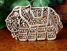 Elephant Stamp: Hand Carved Wood Printing Block from India, Ceramic Tile Clay Pottery Stamp, Indian Decor