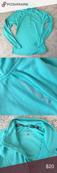 Brooks Equilibrium 1/2 Zip Running Shirt Size M. Excellent condition. Small zippered pocket for key, chapstick, etc. thumb holes in sleeves. Gorgeous aqua color. Brooks Tops Tees - Long Sleeve