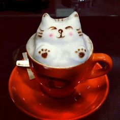 This cat latte foam art is very impressive! #MrCoffee #Coffee