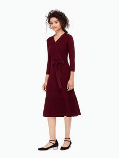 rib knit wrap dress, midnight wine, large