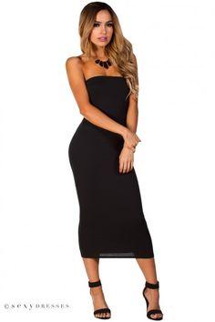 """""""Tara""""  Black Bodycon Strapless Midi Tube Dress"""