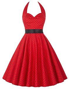 Donne 1950 Vintage con allacciatura al collo di Polka Dots Dress Cotone M YF4599-1