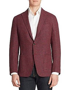 Saks Fifth Avenue Collection Single-Breasted Wool & Silk Blend Bla