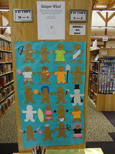 YA gingerbread characters passive program - love it! Teen Library, Elementary Library, Elementary Schools, Library Bulletin Boards, Bulletin Board Display, Teen Programs, Library Programs, Library Inspiration, Library Ideas