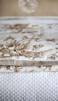 Bedroom detail:  Toile & linen duvet cover atop matelasse by Francie Hargrove