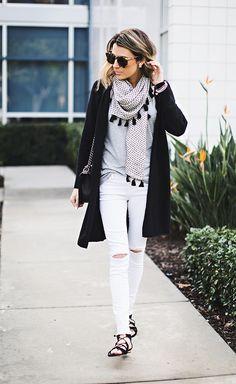 Black Cashmere Cardigan|| White Distressed Denim ||Tassel Scarf ||Black Lace-Up Sandals|| Chanel Bag http://FashionCognoscente.blogspot.com