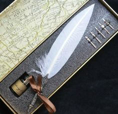 Vintage And Beautiful Feather Writing Pen