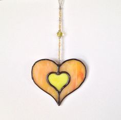 Stained Glass Heart Suncatcher  Yellow and by GreenhouseGlassworks