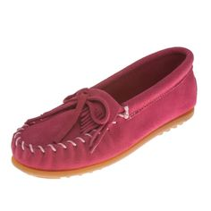 Minnetonka Moccasins 2405 - Childrens Kilty Moccasin - Hot Pink Suede - Kid's Moccasins