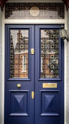 Deep Blue Front Door With Brass IronmongeryDeep Blue Front Door With Brass Tips For Painting A Front Door to Boost Curb Appeal Front Door Entrance, Front Door Decor, Entry Doors, Doorway, Front Door Paint Colors, Painted Front Doors, Blue Front Doors, Paint Colours, Craftsman Front Doors