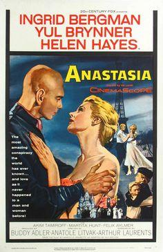 """Anastasia"" (1956). Country: United States. Director: Anatole Litvak. Cast: Ingrid Bergman, Yul Brynner, Helen Hayes, Akim Tamiroff, Martita Hunt, Felix Aylmer, Serge Pitoeff"