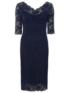 Jolie Moi Navy V-neck Lace Midi Dress