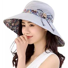 3d2601c0d2b HindaWi Womens Sun Hats Summer Reversible UPF 50+ Beach Hat Foldable Wide  Brim Cap Sun