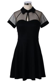 Mesh Peak Collar Skater Dress in Black - Dress - Retro, Indie and Unique Fashion