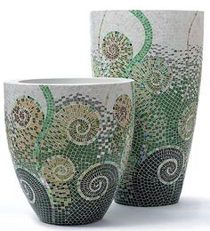""""""" Obbligato manufactures an exclusive range of contemporary plant pots, furniture and accessories for a modern lifestyle. and accessories design Mosaic Planters, Mosaic Vase, Mosaic Flower Pots, Mosaic Diy, Mosaic Crafts, Mosaic Projects, Mosaic Tiles, Mosaic Rocks, Potted Plants"""