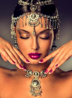 Photo about Beautiful Indian woman portrait with jewelry. elegant Indian girl looking to the side ,bollywood style. Image of face, make, bollywood - 59315156 Indian Makeup, Indian Beauty, Exotic Beauties, Female Portrait, Woman Portrait, Fashion Quotes, Indian Bridal, Bridal Makeup, Wedding Makeup