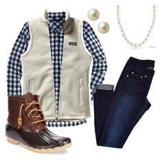 """""""Gingham and Vest.Crew, Patagonia, Bling Jewelry, Carolee and Sperry Top-Sider Preppy Outfits, Casual Winter Outfits, Preppy Style, Fall Outfits, Cute Outfits, Fashion Outfits, My Style, Preppy Clothes, Cute Fashion"""
