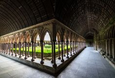 The cloister of Mont Saint Michel Abbey, France Perspective Pictures, Point Perspective, Region Normandie, The Mont, The Cloisters, Normandy France, Mont Saint Michel, Old World Charm, Sacred Art