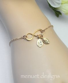 Gold Infinity BraceletPersonalized JewelryInitial by MenuetDesigns
