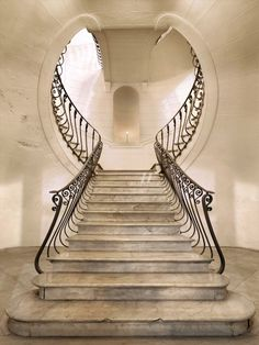Keyhole Staircase in Palazzo Albertini, Napoli | Built in 1753 |  Photo by Luciano Romano