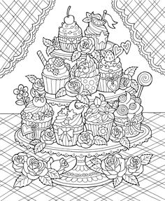Cake - Printable Adult Coloring Page from Favoreads (Coloring book ...