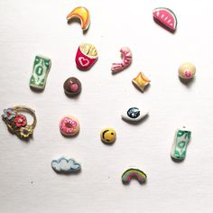 NEW!!!! The studliest bronze and silver stud earrings hand enameled. Look amazing stacked in your ears! Boobs Money Rainbow Cloud Watermelon Slice Eye French Fries Shrimps Moon Stars and a Flower Basket!!!! Even more coming soon!