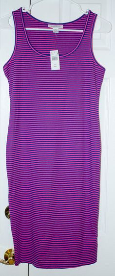c090d3ba2ed58 NWT Motherhood Maternity Blue and Pink Striped Ribbed Dress Small #fashion  #clothing #shoes