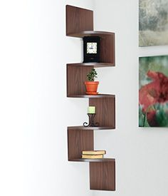 Halter Hanging Corner Storage Shelf with Large Surface Area for Extra Storage Capacity Deep) Dark Brown Wood Finish-Decorative Zig Zag Wall-Shelf + 5 Rounded Shelves for Keeping Pictures, Souvenirs, etc- Easily Assembled + Lifetime Guarantee :: Ziftr® Large Corner Shelf, Corner Storage Shelves, Wall Mounted Corner Shelves, Zig Zag Shelf, Zig Zag Wall, Creative Bookshelves, Corner Bookshelves, Home Decor Furniture, Wood Furniture