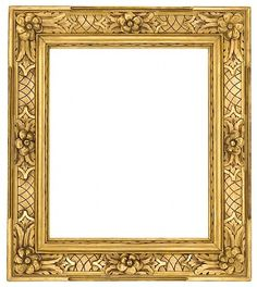 From Lowy. Carved and gilt frame with carved flower head corners and centers and broad incised crosshatching in panels  23.5 x 19.25 inches; width 5.75 inches