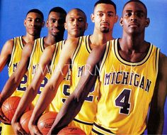Fab Five - Chris Webber, Juwan Howard, Jalen Rose, Ray Jackson and Jimmy King.