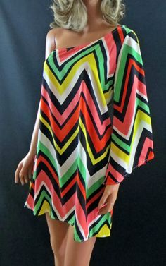 COWGIRL gYPSY Chevron Bell Sleeve Tribal 1 Shoulder Mini Dress Tunic Western S our prices are WAY BELOW RETAIL! all JEWELRY SHIPS FREE! www.baharanchwesternwear.com baha ranch western wear ebay seller id soloedition