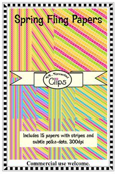 15 Spring Fling Papers $  Beautiful colors! http://www.teacherspayteachers.com/Product/Spring-Fling-Papers-1190533