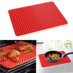 Barbecue Pan Non Stick Fat Reducing Silicone Cooking Mat Oven Baking Tray Sheeo9