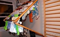Simple clothes drier that folds away and made from found materials.
