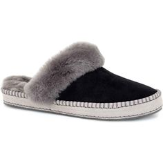 UGG Australia Women's Aira Black Slippers ($90) ❤ liked on Polyvore featuring shoes, slippers, black, ugg® australia shoes, black shoes, ugg australia, water resistant shoes и kohl shoes