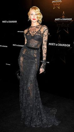 Candice Swanepoel wearing Tom Ford.  Sophisticated in black lace