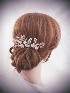 Perno de pelo nupcial, boda peine, peine nupcial conjunto, accesorios para el cabello de plata, joyería del pelo de oro, 3