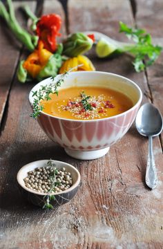 Beautiful food styling | It's not easy to make a cream soup look beautiful in a photo. The setting makes this one sing!