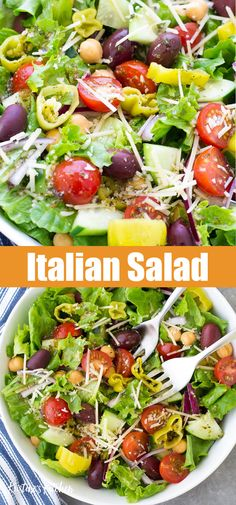 Zesty Italian Salad, easy enough for a weeknight and the best side salad to serve with lasagna or spaghetti! With a homemade Italian dressing recipe, this flavor packed salad is one of our favorite green salad recipes! Salads To Go, Dinner Salads, Easy Salads, Italian Dressing Recipes, Italian Recipes, Beef Recipes, Family Recipes, Easy Recipes, Green Salad Recipes
