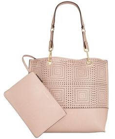 Calvin Klein Perforated Reversible Tote with Pouch | macys.com