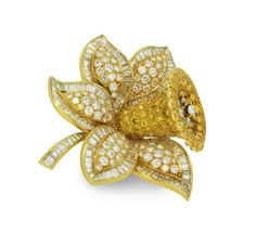 A Gold and Coloured Diamond Daffodil Brooch, by VCA