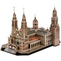 3D paper puzzle building model Spain Catedral de Santiago de Compostela Old town