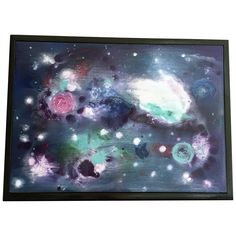 """Abstract Galaxy Art on Wood - Rectangle - Wall Art - Blue, Black, Space. My husband's name is Chuck. And he loves this little space scene that I put together so why not call it """"Chuck's Orbit""""? Beautiful swirling stars and planets in this galaxy bring this hand-stained art on wood to a whole new universe! Galaxies are so popular these days - this would make an ideal gift for your space lover! It is sealed and protected by several coats of oil based polyurethane. This art is signed on the..."""