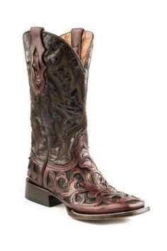 Men Exotic Boots Brown Oak Hand Tooled Vamp Men s Stetson Boots ad239a7deb