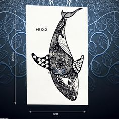 Black Henna Fish Dolphin Whale Temporary Tattoo Sticker For Men Women Body Art Waterproof Arm Decals Fake Tattoo Stickers PH033