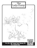 Free Lady and the Tramp printable connect-the-dot activity sheets.