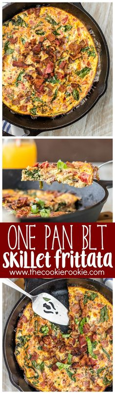 One Pan BLT Skillet Frittata - The perfect EASY RECIPE for breakfast or brunch! Healthy, delicious, and quick.