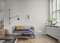 Canapé droit Turn / L 160 cm - 2 places Gris clair / Bleu nuit - Ferm Living