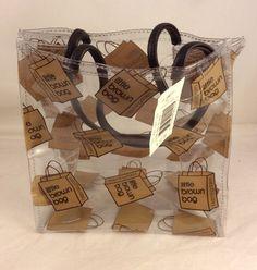 31dfb3791dc7 Bloomingdale s Little Brown Bag Vinyl Plastic Tote Clear Rain Purse Hand New   Bloomingdales