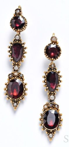 Gold and Garnet Earpendants, set with foil-back garnets, with split pearl and applied bead accents, lg. 1 7/8 in.